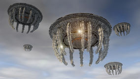 Futuristic spaceship UFO Stock Images