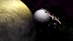 Futuristic spaceships flying above planet and moon stock video