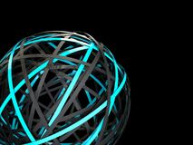 Futuristic sphere with neon glow. 3d render illustration of black and blue rings like sphere Stock Image