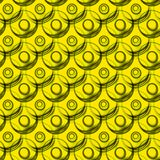Futuristic spheres geometric seamless pattern. Seamless texture with yellow circular shape spheres 3d effect geometric pattern. Seamless tile wallpaper Stock Images