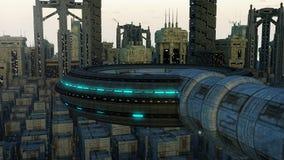 futuristic stad Arkivfoton