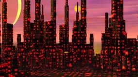 Futuristic stad - 3D framför stock illustrationer
