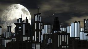Futuristic stad för natt med den stora moonen Royaltyfria Bilder
