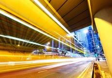 futuristic stads- natttrafik för stad Arkivbilder