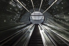 Futuristic stairs of Warsaw Subway system Royalty Free Stock Image