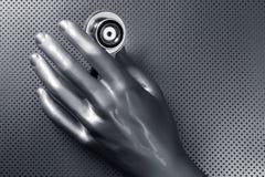 futuristic stetoskop för handhälsosilver Arkivbild