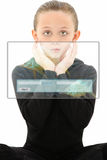 Futuristic Student. Attractive 7 year old girl in futuristic education scene over white background stock photo