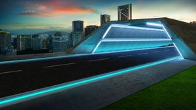 Futuristic style highway tunnel road royalty free illustration