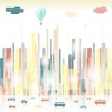 Futuristic stylized city. Vibrant urban silhouettes Stock Photos