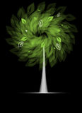 Futuristic stylized tree with leafage. Abstract futuristic stylized tree with green leafage card background Stock Photo