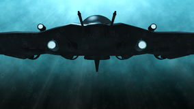 Futuristic submarine underwater scene. Animation of a futuristic submarine passing by stock video