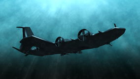 Futuristic submarine underwater scene. Animation of a futuristic submarine passing by stock footage