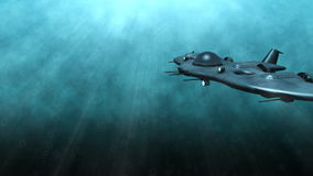 Futuristic submarine underwater scene. Animation of a futuristic submarine passing by stock video footage