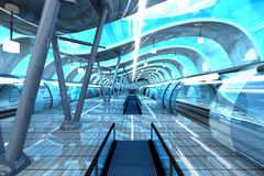 Futuristic Subway Station. A futuristic subway or train station. 3D architecture visualization Stock Images