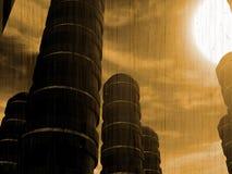 futuristic sun för ljus byggnadsfantasi Fotografering för Bildbyråer