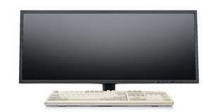 Futuristic super wide flat screen LCD monitor Stock Photos