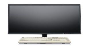 Futuristic super wide flat screen LCD monitor Stock Photos