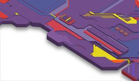 Futuristic surface of low-poly elements and parts. Vector illustration in the style of isometry. background stock image