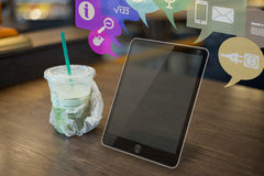 Futuristic Tablet on the table stock photo