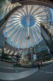 Futuristic tak på den Sony mitten, Potsdamer Platz, Berlin, Tyskland Arkivbild