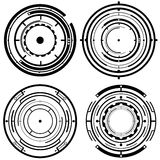 Futuristic Tech Circles. Four futuristic vector tech circle designs Stock Images