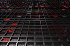 Futuristic technological or industrial background made from brushed metal grate with glowing lines and elements Stock Photos