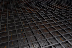 Futuristic technological or industrial background made from brushed metal grate with glowing lines and elements Royalty Free Stock Images
