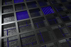 Futuristic technological or industrial background made from brushed metal grate with glowing lines and elements Stock Photography
