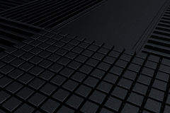 Futuristic technological or industrial background made from metal grates and extruded elements. Abstract background. 3D rendering illustration Royalty Free Stock Photography