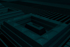 Futuristic technological or industrial background made from metal grates and extruded elements. Abstract background. 3D rendering illustration Stock Photos