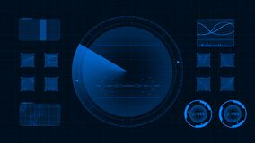Futuristic technological interface. Blue background GUI vector illustration