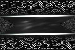 Futuristic technological layout with circuit board elements of black, gray, and white shades. Abstract futuristic technological layout with circuit board Royalty Free Stock Photography