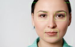 Futuristic and technological scanning of the face of a beautiful woman for facial recognition and scanned person. It can serve to royalty free stock image