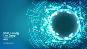 Futuristic Technology Connection Structure. Vector Abstract Cyberspace Background. Future Cyber Concept. Futuristic Technology Connection Structure. Vector Stock Image