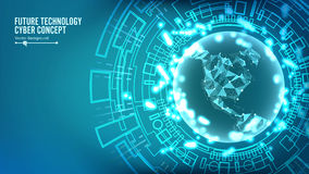 Futuristic Technology Connection Structure. Vector Abstract Cyberspace Background. Future Cyber Concept. Futuristic Technology Connection Structure. Vector royalty free illustration