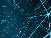 Futuristic technology cyber cube connection world network, computer, fiber virtual optic cables, fibre connection Royalty Free Stock Photography
