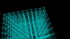 Futuristic technology cyber cube connection world network, computer, fiber virtual optic cables, fibre connection Royalty Free Stock Photo