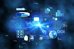 Futuristic technology interface. In blue Stock Photos