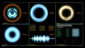 Futuristic Technology Interface Computer Data Screen. Various Animated Infographics Charts as HUD head-up display. Technology, Science, Data Analysis, Business royalty free illustration