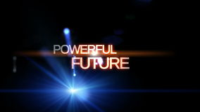 Futuristic technology light animation with text POWERFUL FUTURE, loop HD 1080p stock video footage