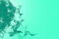 Futuristic technology turquoise background. Mint plexus triangle futuristic fantasy. 3D rendering. Stock Photo
