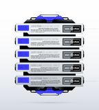 Futuristic template with five options in clean hi-tech/techno style. On white background Royalty Free Stock Image