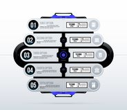Futuristic template with five options in clean hi-tech/techno style. On white background Royalty Free Stock Photography