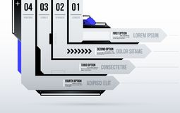 Futuristic template with four directional stripes/options in clean hi-tech/techno style. On white background Stock Photos