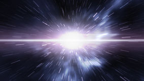 Futuristic timetravel or space warp. An image of warp in space. A 3D rendered illustration of futuristic time travel trough the galaxy. You see a bright wormhole Royalty Free Stock Photography