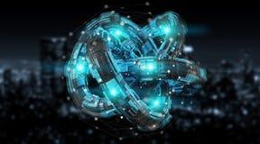 Free Futuristic Torus Technology Textured Object 3D Rendering Stock Photo - 112839310