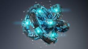 Free Futuristic Torus Technology Textured Object 3D Rendering Stock Photo - 114856230