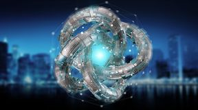 Futuristic torus technology textured object 3D rendering. Futuristic torus technology textured object on blue citybackground 3D rendering Royalty Free Stock Photo