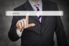 Futuristic touch screen webaddress stock images