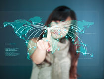 Futuristic Touchscreen display - worldmap Stock Images